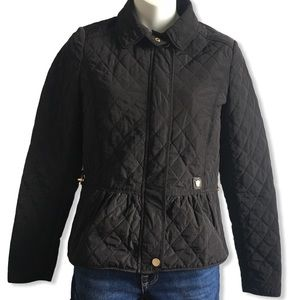 Massimo Dutti Quilted Black Zip Up Jacket XS
